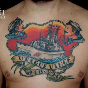 Tattoo Marina traditional al petto
