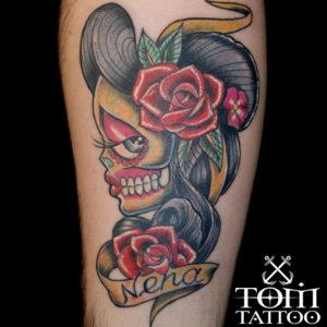 Tatuaggio traditional Signora della morte