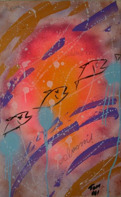 Salmoni (2001) - Acrilico su tela, 50x80 cm
