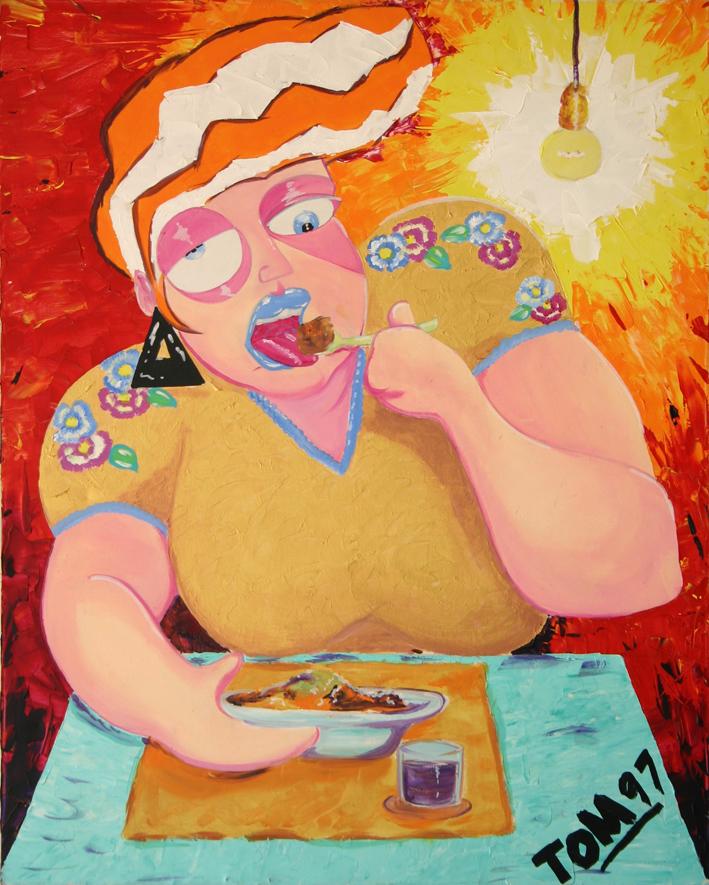 Dramma consumato nella pausa macrobiotica del pranzo, quando, nella noia dell'attesa, mi e' apparsa mia Zia, cosi come l'ho lasciata. (nell'attesa di mangiare ,feci un bozzetto sulla tovaglia di carta, ne trassi un quadro riproducente una figura femminile che consuma un pasto. Incredibilmente assomigliante alla zia Melina, scomparsa tanti anni prima)