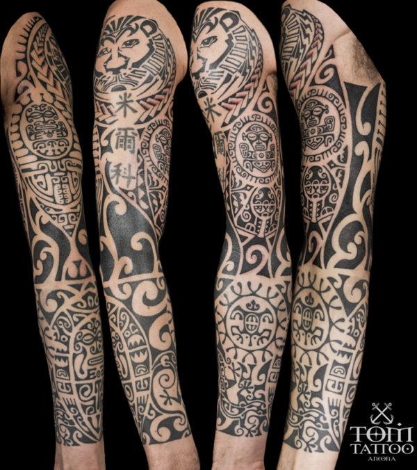 Tatuaggio polinesiano su braccio