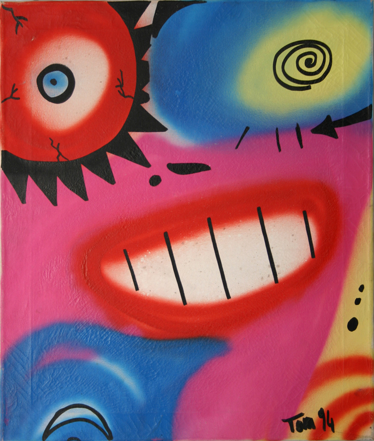 Spruzzo colore per ore ed ore,mentre la gente mi ride addosso,mi uccidono schernendomi, guardandomi rosso, ho voglia di urlare,ma adesso non posso. secondi congelati mi sembrano ore, non ho tempo per te, neanche per me,mi taglio le vene con un pennello scheggiato, l'amena figura mi guarda e sorride.